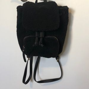 Fluffy Black Mini Backpack